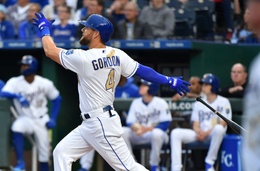 KANSAS CITY, MISSOURI - MAY 10: Alex Gordon #4 of the Kansas City Royals hits a two-run home run in the first inning against the Philadelphia Phillies at Kauffman Stadium on May 10, 2019 in Kansas City, Missouri. (Photo by Ed Zurga/Getty Images)