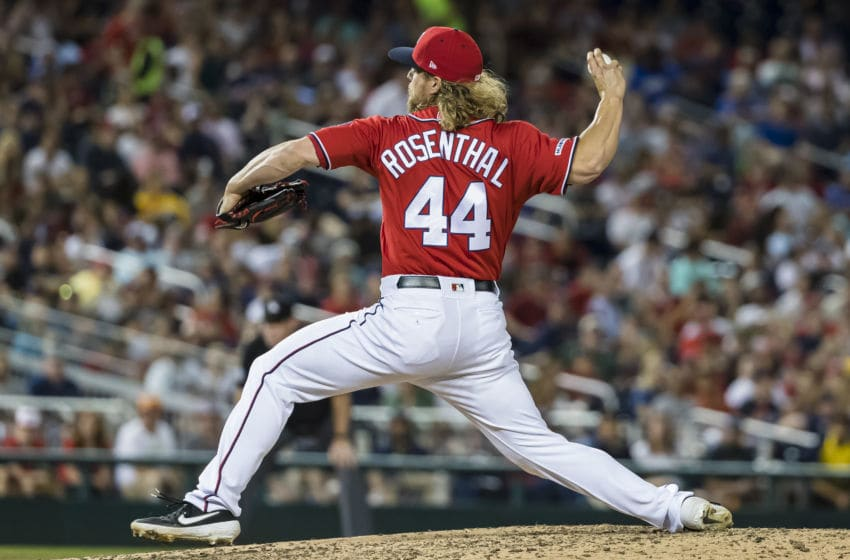 WASHINGTON, DC - JUNE 22: Trevor Rosenthal #44 of the Washington Nationals pitches against the Atlanta Braves during the seventh inning at Nationals Park on June 22, 2019 in Washington, DC. (Photo by Scott Taetsch/Getty Images)
