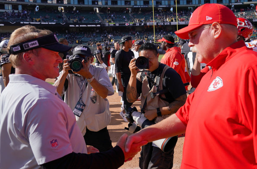 OAKLAND, CA - SEPTEMBER 15: Head coach Jon Gruden of the Oakland Raiders shakes hand with head coach Andy Reid of the Kansas City Chiefs after the Chiefs defeated the Raiders 28-10 at RingCentral Coliseum on September 15, 2019 in Oakland, California. (Photo by Thearon W. Henderson/Getty Images)