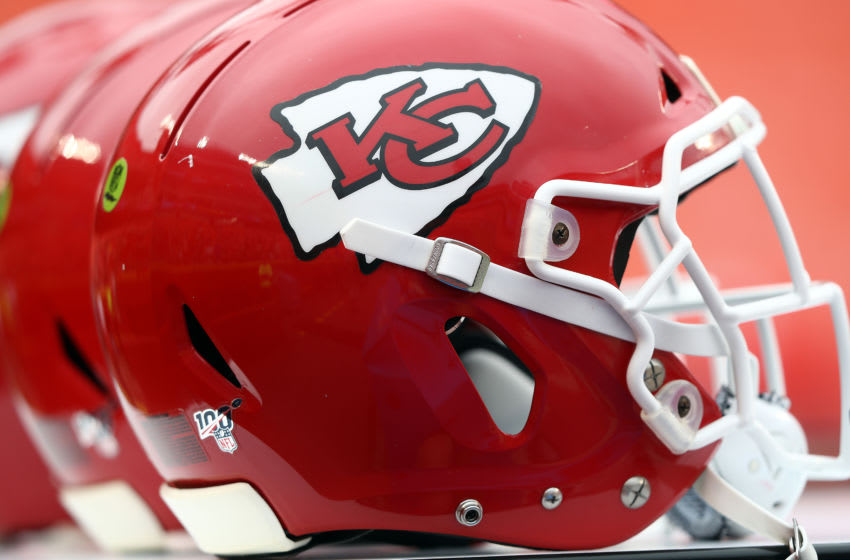 KANSAS CITY, MISSOURI - AUGUST 24: A detail of Kansas City Chiefs helmets prior to the preseason game against the San Francisco 49ers at Arrowhead Stadium on August 24, 2019 in Kansas City, Missouri. (Photo by Jamie Squire/Getty Images)