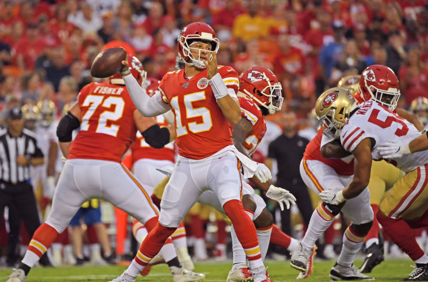 KANSAS CITY, MO - AUGUST 24: Quarterback Patrick Mahomes #15 of the Kansas City Chiefs throws a pass during the first half of a pre-season game against the San Francisco 49ers at Arrowhead Stadium on August 24, 2019 in Kansas City, Missouri. (Photo by Peter G. Aiken/Getty Images)