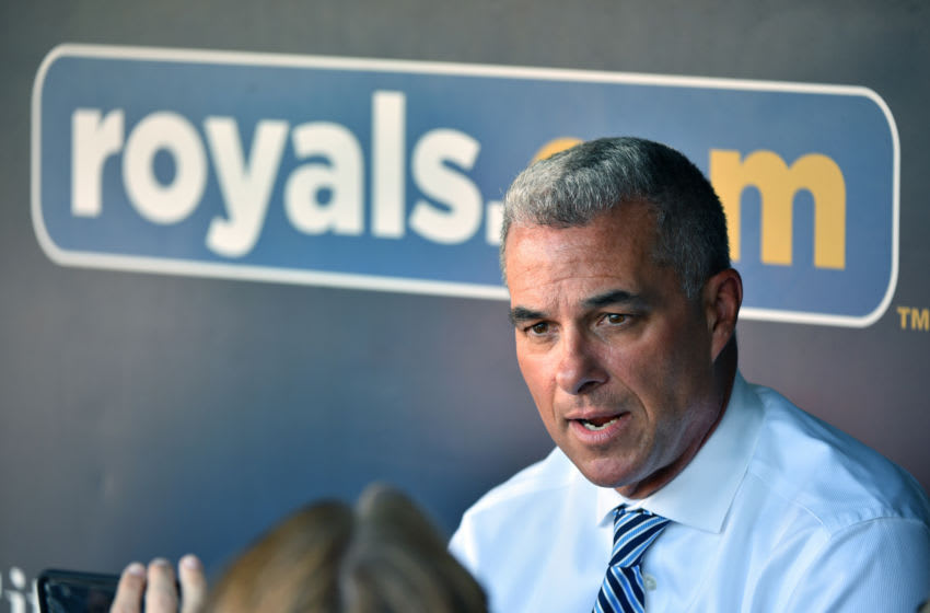 KANSAS CITY, MISSOURI - AUGUST 30: General manager Dayton Moore of the Kansas City Royals talks to reporters prior to a game against the Baltimore Orioles at Kauffman Stadium on August 30, 2019 in Kansas City, Missouri. Owner David Glass has agreed to to sell the team to a group led by Kansas City business man John Sherman for an estimated $1 billion. (Photo by Ed Zurga/Getty Images)