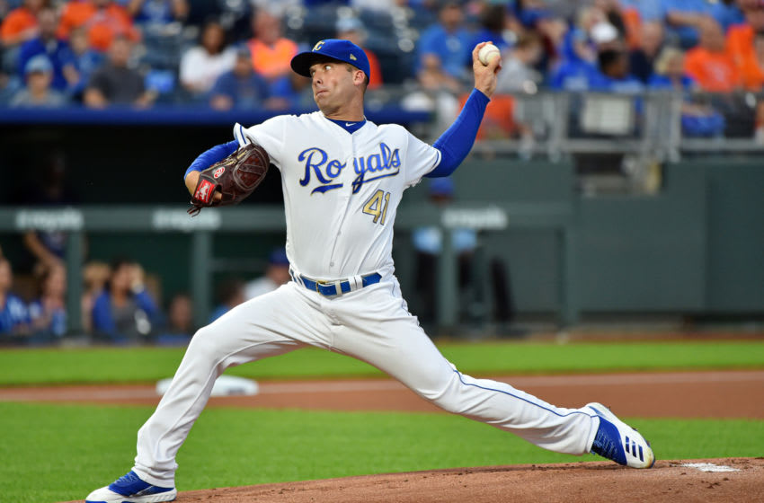 KANSAS CITY, MISSOURI - SEPTEMBER 13: Starting pitcher Danny Duffy #41 of the Kansas City Royals throws in the first inning against the Houston Astros at Kauffman Stadium on September 13, 2019 in Kansas City, Missouri. (Photo by Ed Zurga/Getty Images)