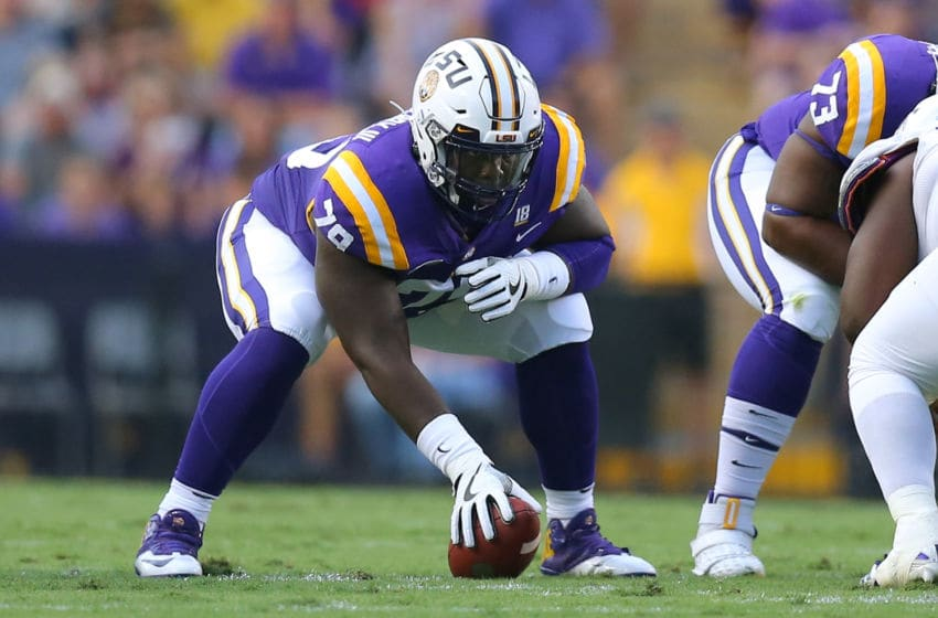 Lloyd Cushenberry III #79 of the LSU Tigers (Photo by Jonathan Bachman/Getty Images)