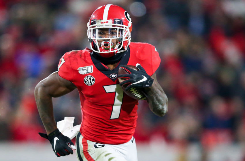 ATHENS, GA - NOVEMBER 9: D'Andre Swift #7 of the Georgia Bulldogs rushes during the second half of a game against the Missouri Tigers at Sanford Stadium on November 9, 2019 in Athens, Georgia. (Photo by Carmen Mandato/Getty Images)
