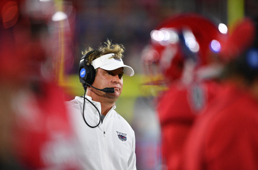 BOCA RATON, FLORIDA - NOVEMBER 09: Head Coach Lane Kiffin of the Florida Atlantic Owls coaching against the FIU Golden Panthers in the first half at FAU Stadium on November 09, 2019 in Boca Raton, Florida. (Photo by Mark Brown/Getty Images)