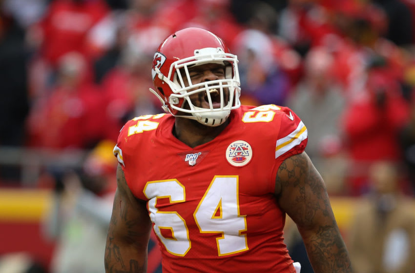 KANSAS CITY, MO - DECEMBER 29: Kansas City Chiefs defensive tackle Mike Pennel (64) yells after making a stop on fourth down late in the third quarter of an AFC West game between the Los Angeles Chargers and Kansas City Chiefs on December 29, 2019 at Arrowhead Stadium in Kansas City, MO. (Photo by Scott Winters/Icon Sportswire via Getty Images)