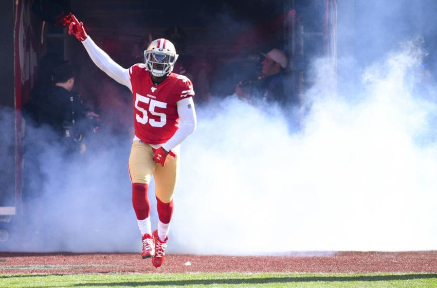 SANTA CLARA, CA - JANUARY 11: San Francisco 49ers Defensive End Dee Ford (55) takes the field before the NFC Divisional Playoff game between the Minnesota Vikings and the San Francisco 49ers on January 11, 2020, at Levi's Stadium in Santa Clara, CA. (Photo by Brian Rothmuller/Icon Sportswire via Getty Images)