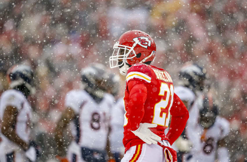 KANSAS CITY, MO - DECEMBER 15: Bashaud Breeland #21 of the Kansas City Chiefs stands in a heavy snow between plays in the third quarter against the Denver Broncos at Arrowhead Stadium on December 15, 2019 in Kansas City, Missouri. (Photo by David Eulitt/Getty Images)