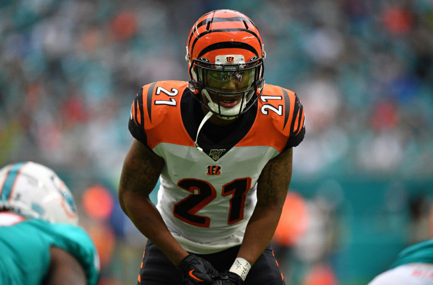 MIAMI, FLORIDA - DECEMBER 22: Darqueze Dennard #21 of the Cincinnati Bengals in action against the Miami Dolphins in the second quarter at Hard Rock Stadium on December 22, 2019 in Miami, Florida. (Photo by Mark Brown/Getty Images)