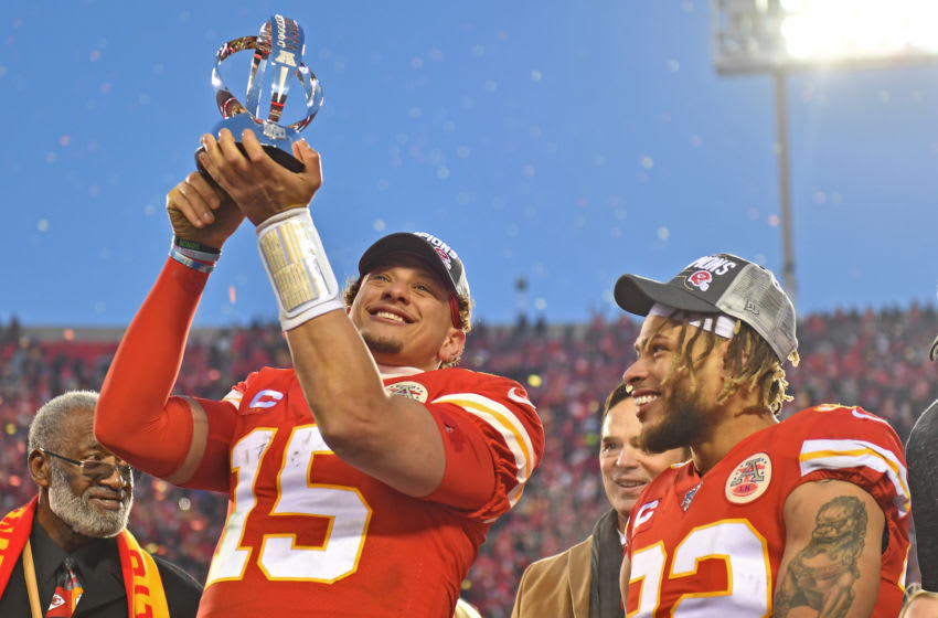 KANSAS CITY, MO - JANUARY 19: Patrick Mahomes #15 of the Kansas City Chiefs holds up the Lamar Hunt trophy after defeating the Tennessee Titans in the AFC Championship Game at Arrowhead Stadium on January 19, 2020 in Kansas City, Missouri. The Chiefs defeated the Titans 35-24. (Photo by Peter G. Aiken/Getty Images)