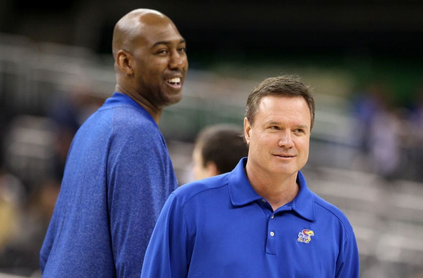 Bill Self of the Kansas Jayhawks and Danny Manning - (Photo by Jeff Gross/Getty Images)