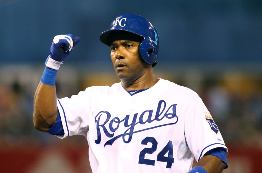 KANSAS CITY, MO - JULY 24: Miguel Tejada #24 of the Kansas City Royals celebrates during a game against the Baltimore Orioles at Kauffman Stadium on July 24, 2013 in Kansas City, Missouri. The Royals defeated the Orioles 4-3. (Photo by Jay Biggerstaff/TUSP/Getty Images)