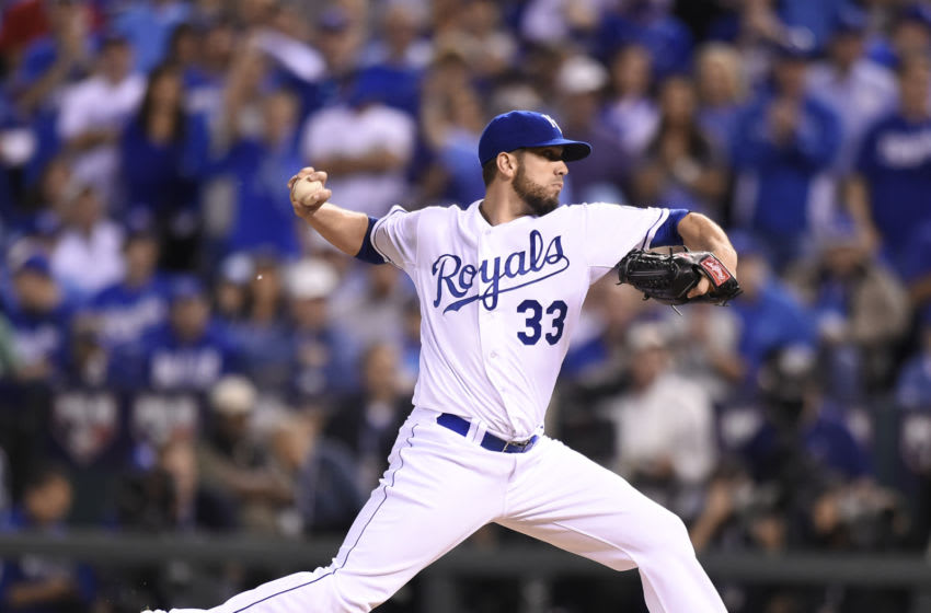 Kansas City Royals starting pitcher James Shields works during the first inning against the San Francisco Giants in Game 1 of the World Series on Tuesday, Oct. 21, 2014, at Kauffman Stadium in Kansas City, Mo. (Shane Keyser/Kansas City Star/Tribune News Service via Getty Images)
