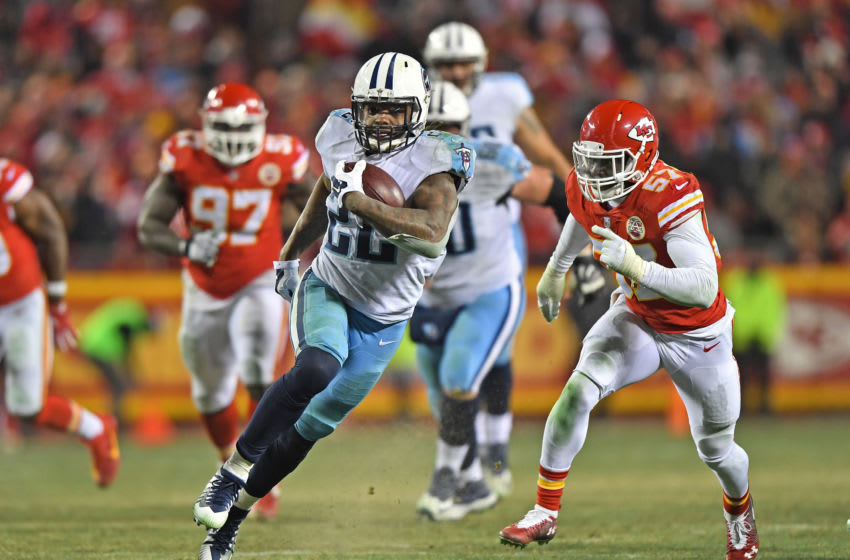 KANSAS CITY, MO - JANUARY 6: Running back Derrick Henry #22 of the Tennessee Titans runs up field for a touchdown during the second half of the game against the Kansas City Chiefs at Arrowhead Stadium on January 6, 2018 in Kansas City, Missouri. (Photo by Peter G. Aiken/Getty Images)