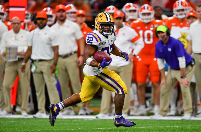Clyde Edwards-Helaire #22 of the LSU Tigers (Photo by Alika Jenner/Getty Images)