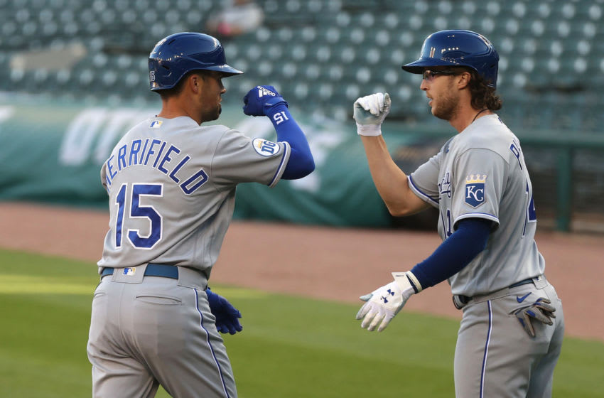 DETROIT, MICHIGAN - JULY 28: Whit Merrifield #15 of the Kansas City Royals celebrates his three run home run with Brett Phillips #14 while playing the Detroit Tigers at Comerica Park on July 28, 2020 in Detroit, Michigan. (Photo by Gregory Shamus/Getty Images)