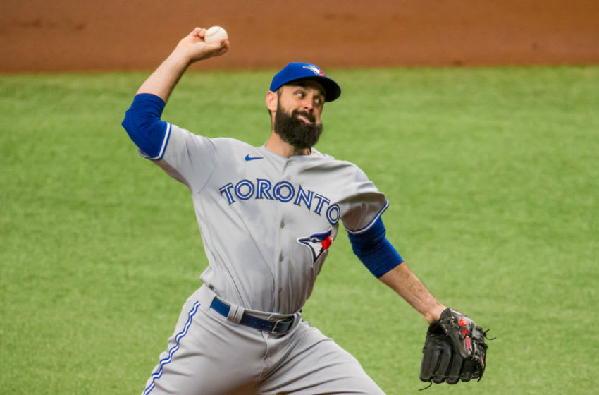 Jul 25, 2020; St. Petersburg, Florida, USA; Toronto Blue Jays starting pitcher Matt Shoemaker (34) delivers a pitch during the first inning of a game against the Tampa Bay Rays at Tropicana Field. Mandatory Credit: Mary Holt-USA TODAY Sports