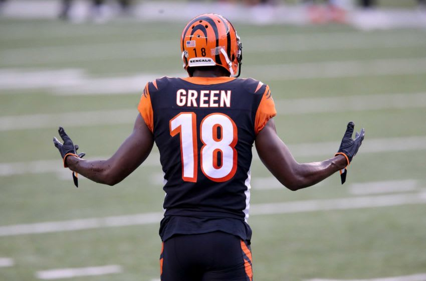 Cincinnati Bengals wide receiver A.J. Green (18) gestures toward the bench after being called for offensive pass interference prior to completing a catch in the end zone in the fourth quarter during a Week 1 NFL football game against the Los Angeles Chargers, Sunday, Sept. 13, 2020, at Paul Brown Stadium in Cincinnati. The Cincinnati Bengals lost 16-13. Los Angeles Chargers At Cincinnati Bengals Sept 13