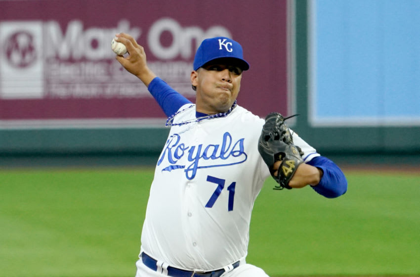 Sep 21, 2020; Kansas City, Missouri, USA; Kansas City Royals starting pitcher Carlos Hernandez (71) delivers a pitch in the first inning against the St. Louis Cardinals at Kauffman Stadium. Mandatory Credit: Denny Medley-USA TODAY Sports