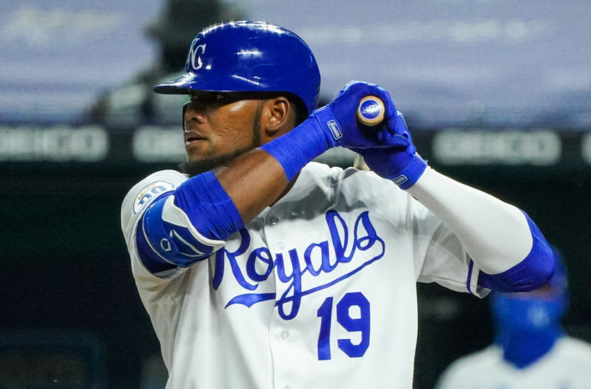 Sep 24, 2020; Kansas City, Missouri, USA; Kansas City Royals center fielder Franchy Cordero (19) bats against the Detroit Tigers at Kauffman Stadium. Mandatory Credit: Jay Biggerstaff-USA TODAY Sports