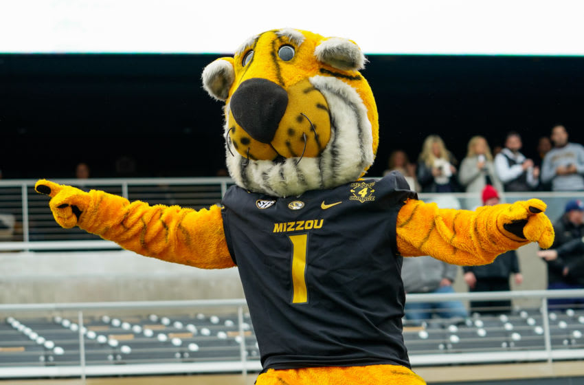 Dec 12, 2020; Columbia, Missouri, USA; Missouri Tigers mascot Truman performs during the first half against the Georgia Bulldogs at Faurot Field at Memorial Stadium. Mandatory Credit: Jay Biggerstaff-USA TODAY Sports