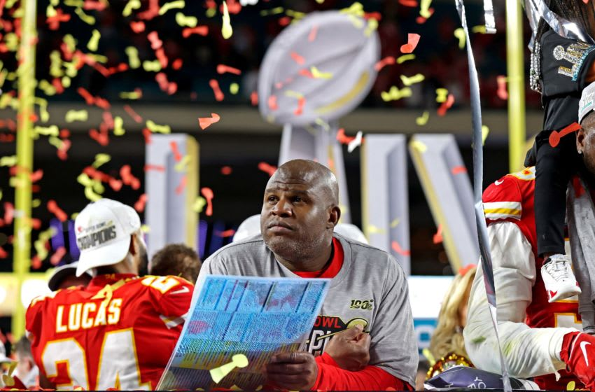 Feb 2, 2020; Miami Gardens, Florida, USA; Kansas City Chiefs offensive coordinator Eric Bieniemy​ reacts after beating the San Francisco 49ers in Super Bowl LIV at Hard Rock Stadium. Mandatory Credit: Matthew Emmons-USA TODAY Sports