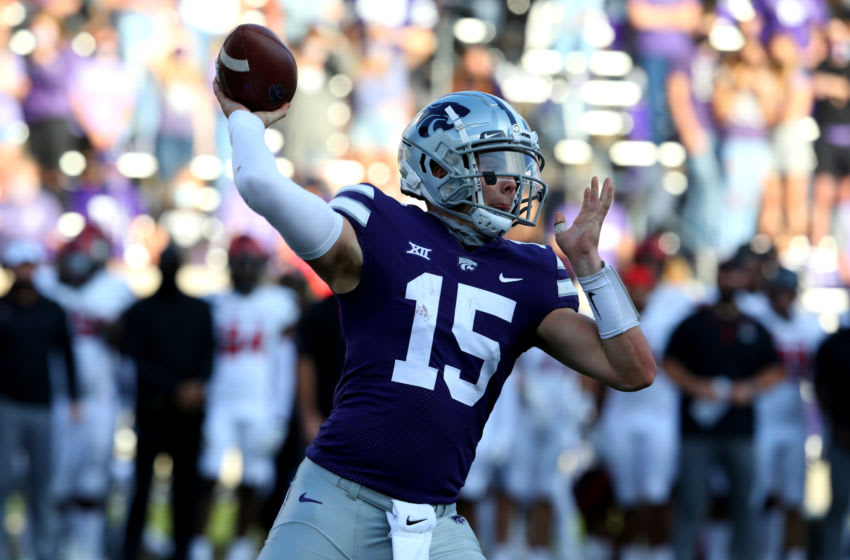Oct 3, 2020; Manhattan, Kansas, USA; Kansas State Wildcats quarterback Will Howard (15) drops back to pass during a game against the Texas Tech Red Raiders at Bill Snyder Family Football Stadium. Mandatory Credit: Scott Sewell-USA TODAY Sports