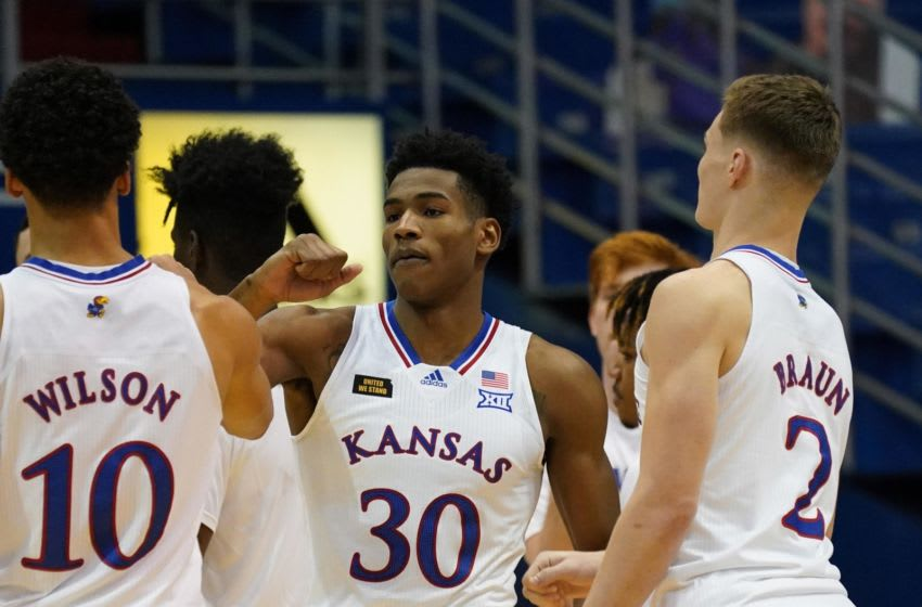 Dec 5, 2020; Lawrence, Kansas, USA; Kansas Jayhawks guard Ochai Agbaji (30) is introduced before the game against the North Dakota State Bison at Allen Fieldhouse. Mandatory Credit: Denny Medley-USA TODAY Sports