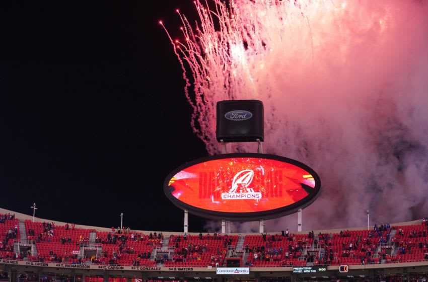 General view of the scoreboard with the AFC champions logo - Mandatory Credit: Denny Medley-USA TODAY Sports