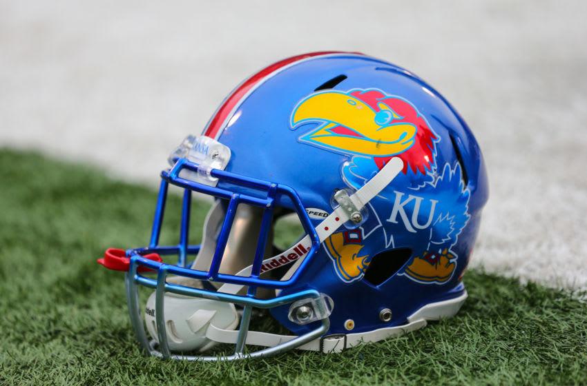 Kansas Jayhawks helmet - Mandatory Credit: Jay Biggerstaff-USA TODAY Sports