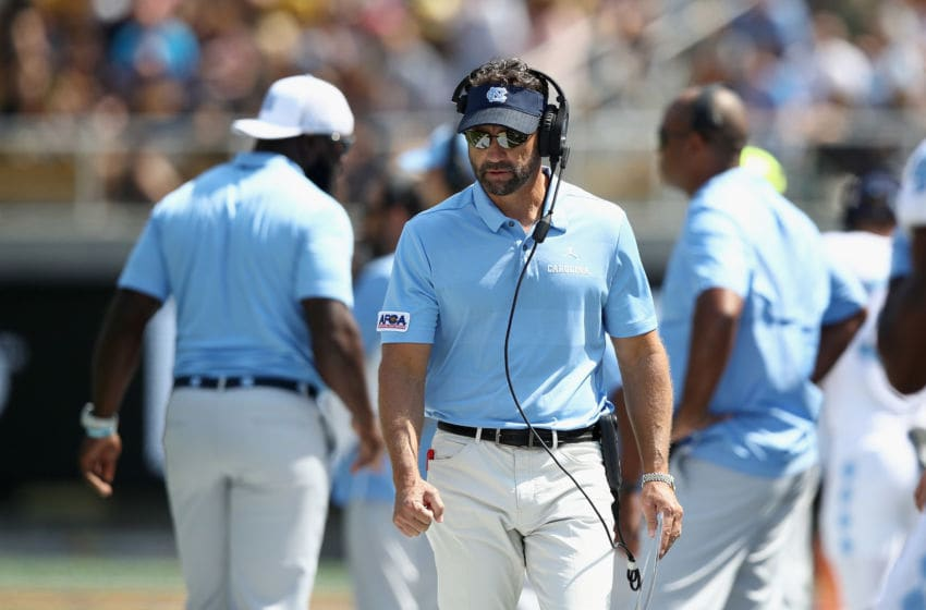 BERKELEY, CA - SEPTEMBER 01: Head coach Larry Fedora of the North Carolina Tar Heels walks the side line during their game against the California Golden Bears at California Memorial Stadium on September 1, 2018 in Berkeley, California. (Photo by Ezra Shaw/Getty Images)