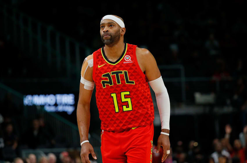 ATLANTA, GA - NOVEMBER 21: Vince Carter #15 of the Atlanta Hawks reacts after hitting two free throws in the final seconds against the Toronto Raptors at State Farm Arena on November 21, 2018 in Atlanta, Georgia. NOTE TO USER: User expressly acknowledges and agrees that, by downloading and or using this photograph, User is consenting to the terms and conditions of the Getty Images License Agreement. (Photo by Kevin C. Cox/Getty Images)
