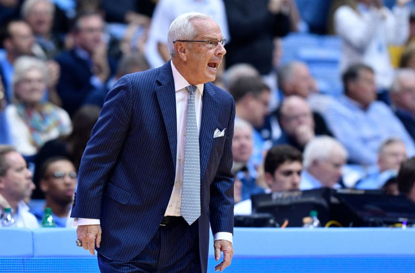 CHAPEL HILL, NORTH CAROLINA - NOVEMBER 12: Head coach Roy Williams of the North Carolina Tar Heels directs his team against the Stanford Cardinal during the first half of their game at the Dean Smith Center on November 12, 2018 in Chapel Hill, North Carolina. (Photo by Grant Halverson/Getty Images)