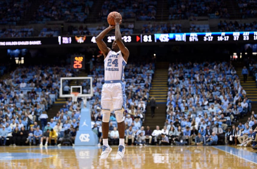 CHAPEL HILL, NORTH CAROLINA - NOVEMBER 16: Kenny Williams #24 of the North Carolina Tar Heels takes a three-point shot against the Tennessee Tech Golden Eagles during the second half of their game at the Dean Smith Center on November 16, 2018 in Chapel Hill, North Carolina. North Carolina won 108-58. (Photo by Grant Halverson/Getty Images)