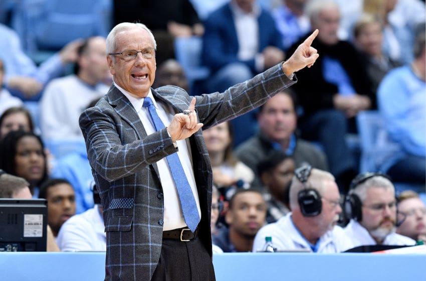 CHAPEL HILL, NORTH CAROLINA - NOVEMBER 16: Head coach Roy Williams of the North Carolina Tar Heels watches his team play against the Tennessee Tech Golden Eagles during the first half of their game at the Dean Smith Center on November 16, 2018 in Chapel Hill, North Carolina. (Photo by Grant Halverson/Getty Images)