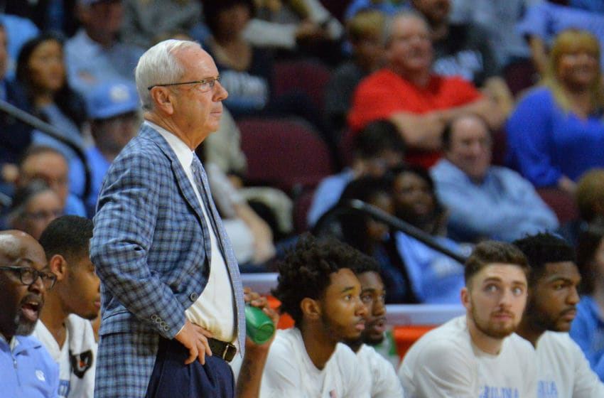 LAS VEGAS, NEVADA - NOVEMBER 23: Head coach Roy Williams of the North Carolina Tar Heels looks on during his team's game against the UCLA Bruins during the 2018 Continental Tire Las Vegas Invitational basketball tournament at the Orleans Arena on November 23, 2018 in Las Vegas, Nevada. (Photo by Sam Wasson/Getty Images)