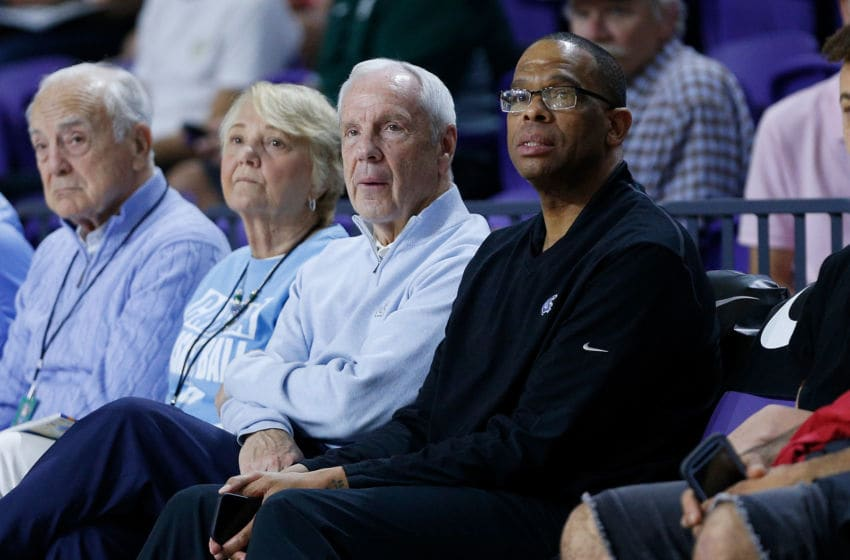 FORT MYERS, FL - DECEMBER 19: Head coach Roy Williams (left) and assistant coach Hubert Davis of the North Carolina Tar Heels look on during the City Of Palms Classic at Suncoast Credit Union Arena on December 19, 2018 in Fort Myers, Florida. (Photo by Michael Reaves/Getty Images)