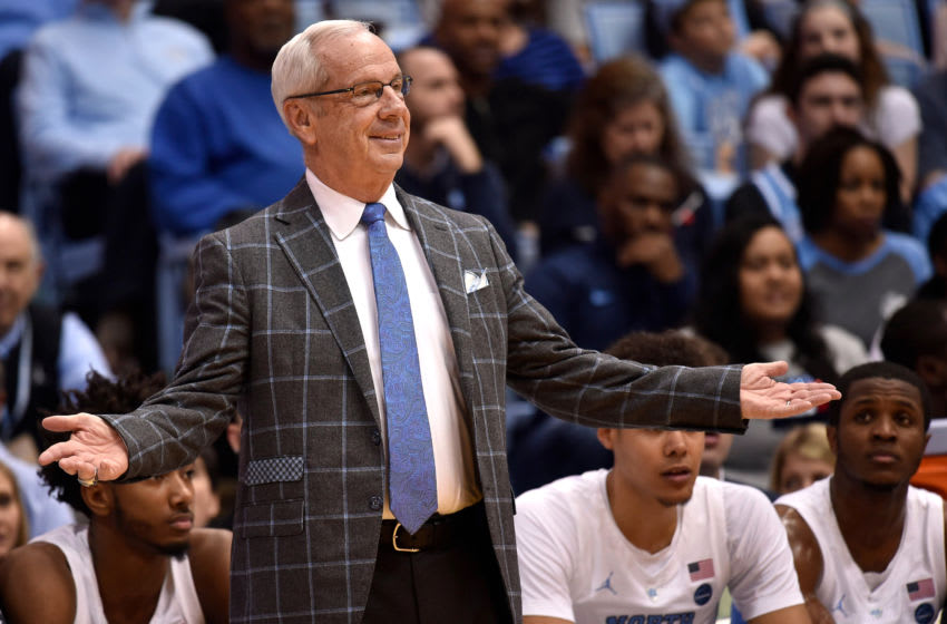 CHAPEL HILL, NC - DECEMBER 29: Head coach Roy Williams of the North Carolina Tar Heels reacts against the Davidson Wildcats in the first half at Dean Smith Center on December 29, 2018 in Chapel Hill, North Carolina. (Photo by Lance King/Getty Images)