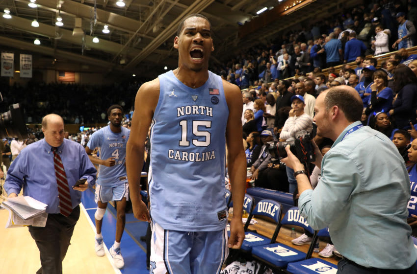 DURHAM, NORTH CAROLINA - FEBRUARY 20: Garrison Brooks #15 of the North Carolina Tar Heels reacts after they defeated the Duke Blue Devils 88-72 in their game at Cameron Indoor Stadium on February 20, 2019 in Durham, North Carolina. (Photo by Streeter Lecka/Getty Images)