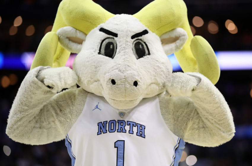 COLUMBUS, OHIO - MARCH 22: Rameses, the North Carolina Tar Heels mascot, is seen as they take on the Iona Gaels during the first half of the game in the first round of the 2019 NCAA Men's Basketball Tournament at Nationwide Arena on March 22, 2019 in Columbus, Ohio. (Photo by Gregory Shamus/Getty Images)