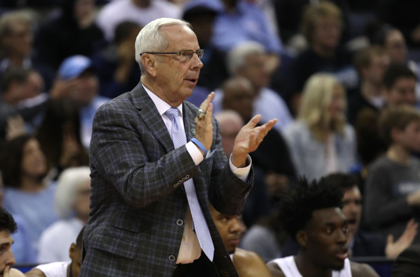 COLUMBUS, OHIO - MARCH 22: Head coach Roy Williams of the North Carolina Tar Heels looks on as they play against the Iona Gaels during the first half of the game in the first round of the 2019 NCAA Men's Basketball Tournament at Nationwide Arena on March 22, 2019 in Columbus, Ohio. (Photo by Gregory Shamus/Getty Images)