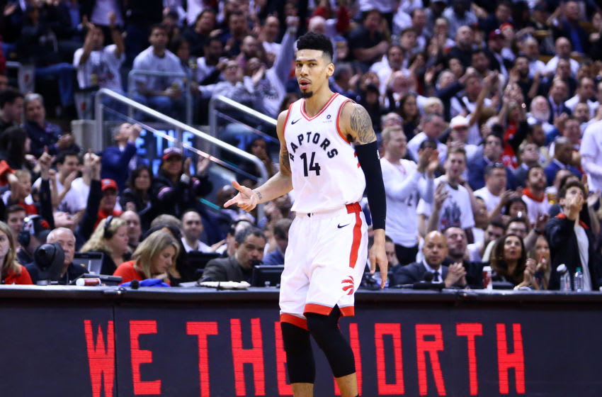TORONTO, ON - MAY 07: Danny Green #14 of the Toronto Raptors reacts after sinking a 3 pointer during Game Five of the second round of the 2019 NBA Playoffs against the Philadelphia 76ers at Scotiabank Arena on May 7, 2019 in Toronto, Canada. NOTE TO USER: User expressly acknowledges and agrees that, by downloading and or using this photograph, User is consenting to the terms and conditions of the Getty Images License Agreement. (Photo by Vaughn Ridley/Getty Images)