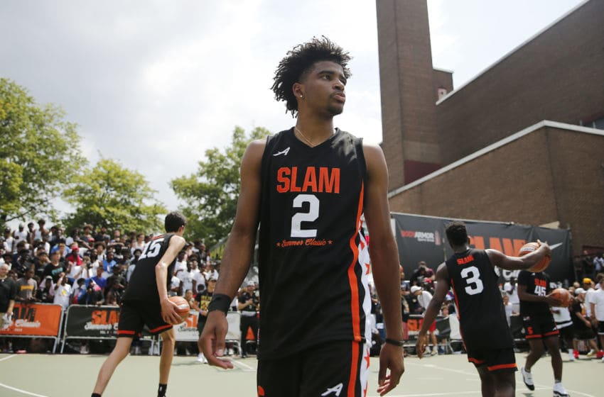 NEW YORK, NEW YORK - AUGUST 18: RJ Davis #2 of Team Zion looks on during the SLAM Summer Classic 2019 at Dyckman Park on August 18, 2019 in New York City. (Photo by Michael Reaves/Getty Images)