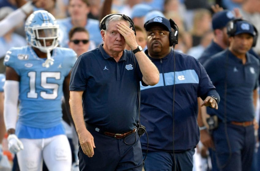 CHAPEL HILL, NORTH CAROLINA - SEPTEMBER 21: Head coach Mack Brown of the North Carolina Tar Heels watches his team play against the Appalachian State Mountaineers during the second half of their game at Kenan Stadium on September 21, 2019 in Chapel Hill, North Carolina. The Mountaineers won 34-31. (Photo by Grant Halverson/Getty Images)