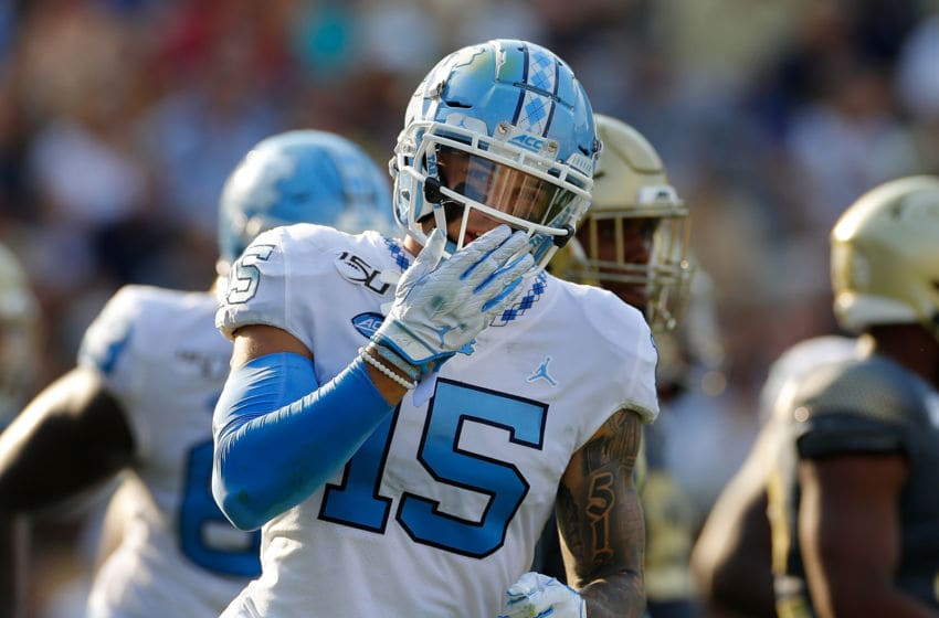ATLANTA, GEORGIA - OCTOBER 05: Beau Corrales #15 of the North Carolina Tar Heels reacts after pulling in a touchdown reception against the Georgia Tech Yellow Jackets in the first half at Bobby Dodd Stadium on October 05, 2019 in Atlanta, Georgia. (Photo by Kevin C. Cox/Getty Images)