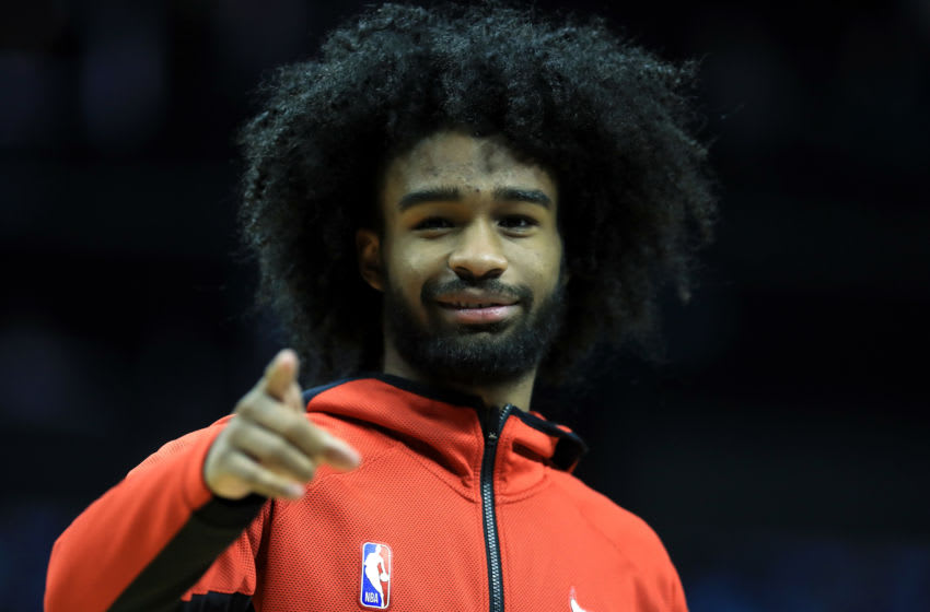 CHARLOTTE, NORTH CAROLINA - OCTOBER 23: Coby White #0 of the Chicago Bulls watches on before their game against the Charlotte Hornets at Spectrum Center on October 23, 2019 in Charlotte, North Carolina. NOTE TO USER: User expressly acknowledges and agrees that, by downloading and or using this photograph, User is consenting to the terms and conditions of the Getty Images License Agreement. (Photo by Streeter Lecka/Getty Images)