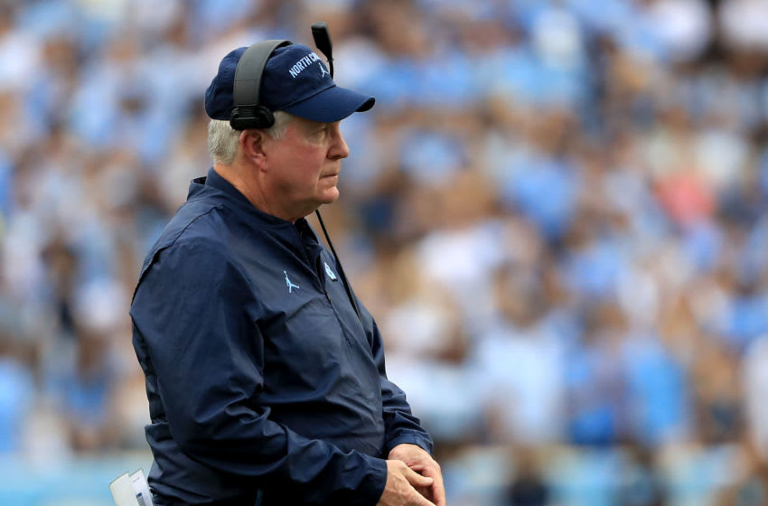 CHAPEL HILL, NORTH CAROLINA - OCTOBER 26: Head coach Mack Brown of the North Carolina Tar Heels watches on during their game against the Duke Blue Devils at Kenan Stadium on October 26, 2019 in Chapel Hill, North Carolina. (Photo by Streeter Lecka/Getty Images)