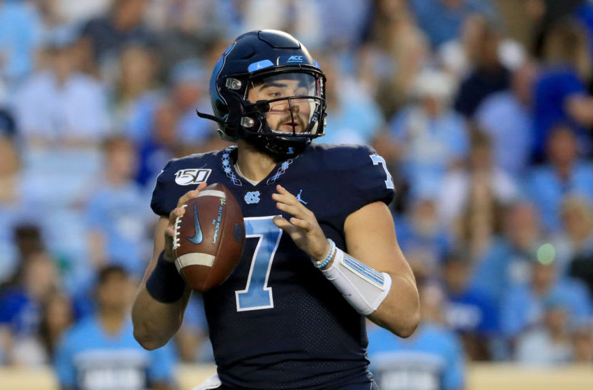 CHAPEL HILL, NORTH CAROLINA - OCTOBER 26: Sam Howell #7 of the North Carolina Tar Heels drops back to pass against the Duke Blue Devils during their game at Kenan Stadium on October 26, 2019 in Chapel Hill, North Carolina. (Photo by Streeter Lecka/Getty Images)