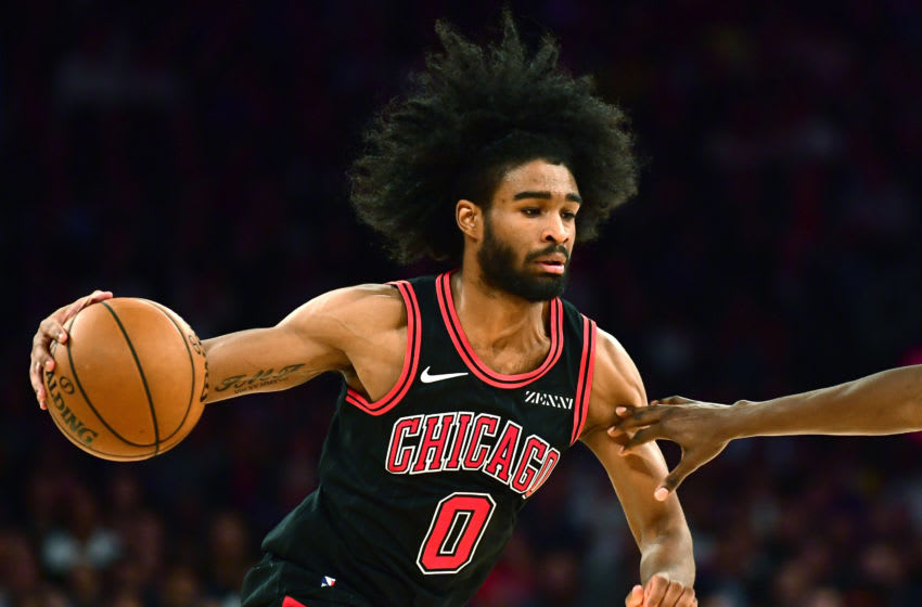 NEW YORK, NEW YORK - OCTOBER 28: Coby White #0 of the Chicago Bulls drives in the second half of their game against the New York Knicks at Madison Square Garden on October 28, 2019 in New York City. NOTE TO USER: User expressly acknowledges and agrees that, by downloading and or using this Photograph, user is consenting to the terms and conditions of the Getty Images License Agreement. (Photo by Emilee Chinn/Getty Images)